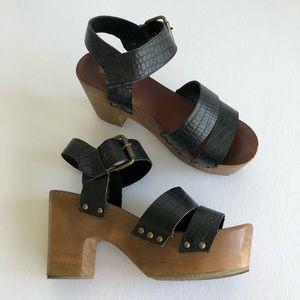 Ecote platform chunky wooden strap sandal heel